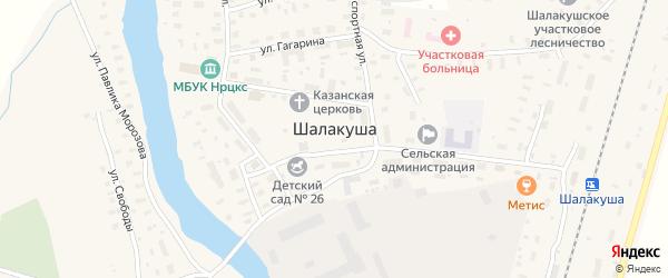 Набережный переулок на карте поселка Шалакуши с номерами домов