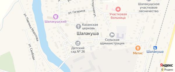 Комсомольский переулок на карте поселка Шалакуши с номерами домов