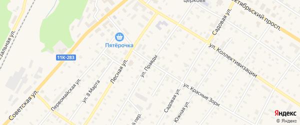 Улица Правды на карте поселка Коноши с номерами домов