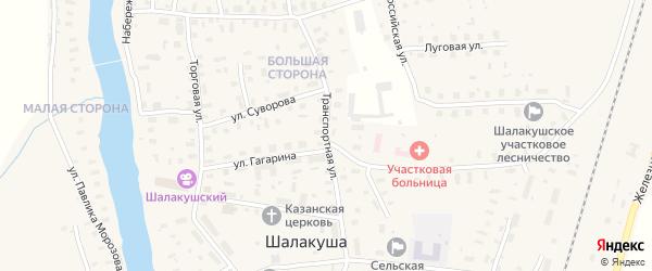 Транспортная улица на карте поселка Шалакуши с номерами домов