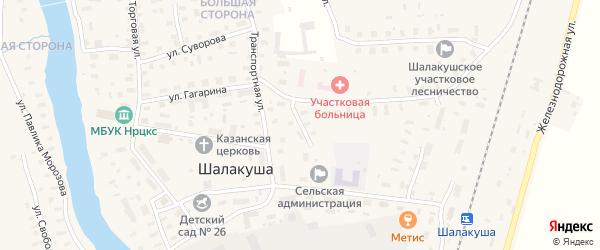 Школьный переулок на карте поселка Шалакуши с номерами домов