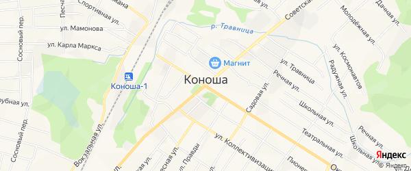 Карта поселка Коноши в Архангельской области с улицами и номерами домов