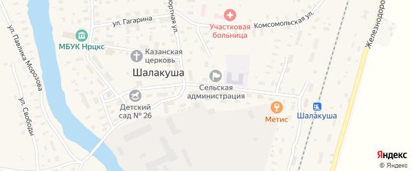 Заводская улица на карте поселка Шалакуши с номерами домов