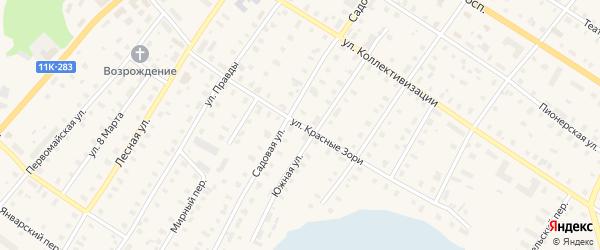 Улица Красные Зори на карте поселка Коноши с номерами домов