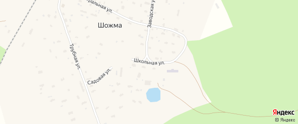 Школьная улица на карте железнодорожной станции Шожмы с номерами домов