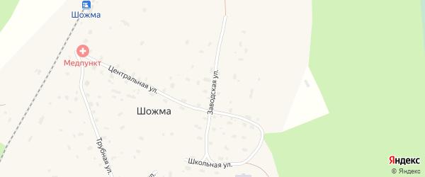 Заводская улица на карте железнодорожной станции Шожмы с номерами домов