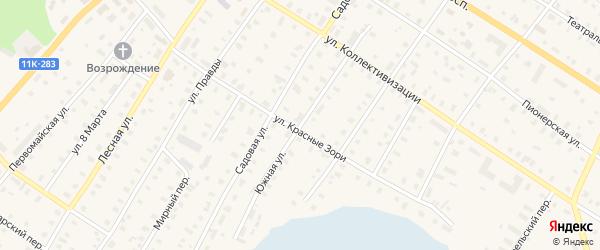 Южная улица на карте поселка Коноши с номерами домов
