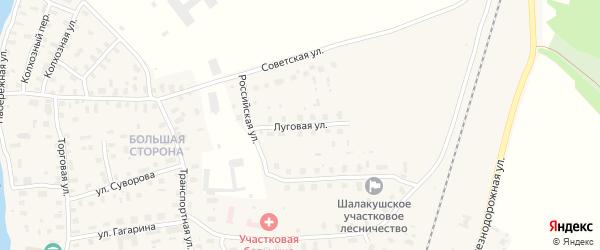 Луговая улица на карте поселка Шалакуши с номерами домов