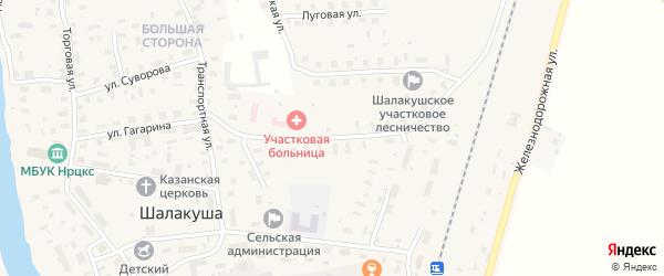 Комсомольская улица на карте поселка Шалакуши с номерами домов