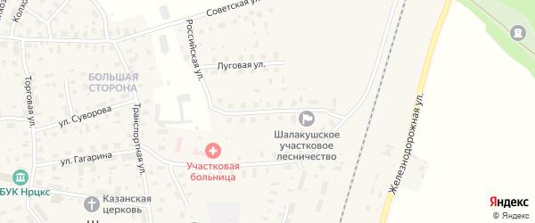 Российская улица на карте поселка Шалакуши с номерами домов