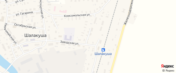 Заводской переулок на карте поселка Шалакуши с номерами домов