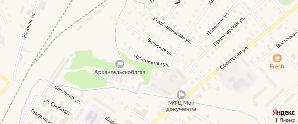 Набережная улица на карте поселка Коноши с номерами домов