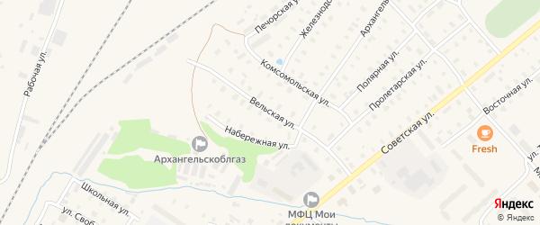 Вельская улица на карте поселка Коноши с номерами домов