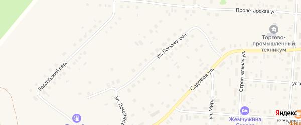 Улица Ломоносова на карте поселка Плесецка с номерами домов