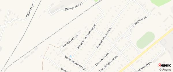 Железнодорожная улица на карте поселка Коноши с номерами домов