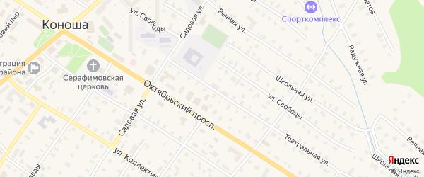 Театральная улица на карте поселка Коноши с номерами домов