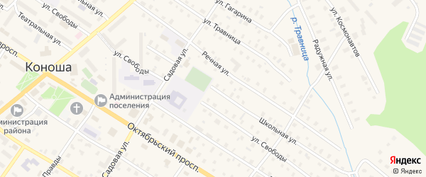 Школьная улица на карте поселка Коноши с номерами домов