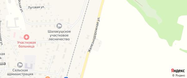Железнодорожная улица на карте поселка Шалакуши с номерами домов