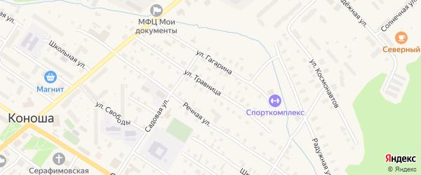 Улица Травница на карте поселка Коноши с номерами домов