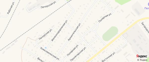 Архангельская улица на карте поселка Коноши с номерами домов