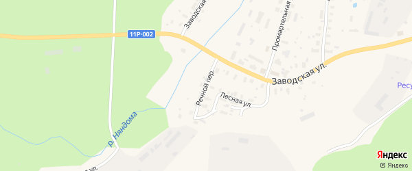 Речной переулок на карте железнодорожной станции Бурачихи с номерами домов