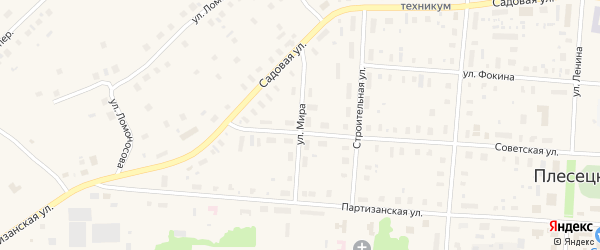 Улица Мира на карте поселка Плесецка с номерами домов