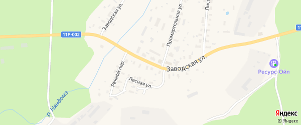 Заводская улица на карте Няндомы с номерами домов