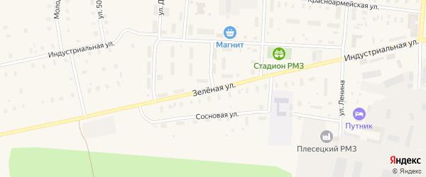 Зеленая улица на карте поселка Плесецка с номерами домов