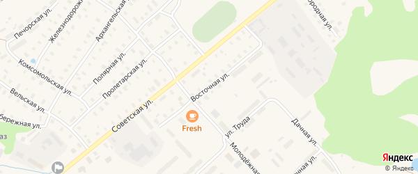 Восточная улица на карте поселка Коноши с номерами домов