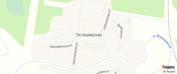 Молодежная улица на карте деревни Осташевская (Вохтомское мо) с номерами домов