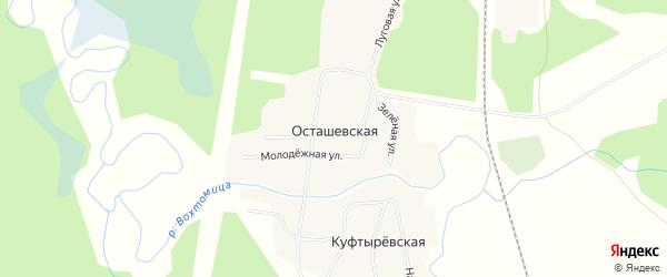 Карта деревни Осташевская (Вохтомское мо) в Архангельской области с улицами и номерами домов