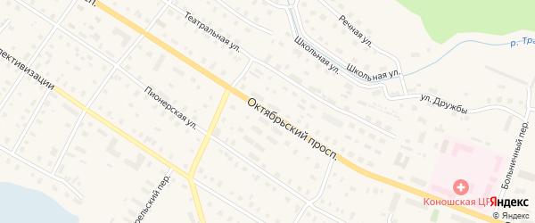 Октябрьский проспект на карте поселка Коноши с номерами домов