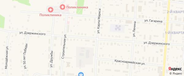 Улица Дзержинского на карте поселка Плесецка с номерами домов