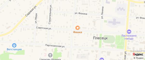 Улица Карла Маркса на карте поселка Плесецка с номерами домов