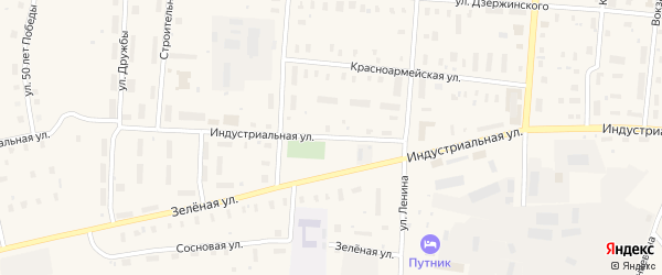 Индустриальная улица на карте поселка Плесецка с номерами домов