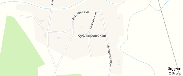 Совхозная улица на карте Куфтыревской деревни с номерами домов