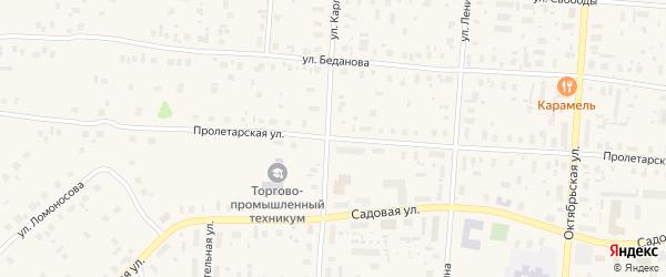 Пролетарская улица на карте поселка Плесецка с номерами домов
