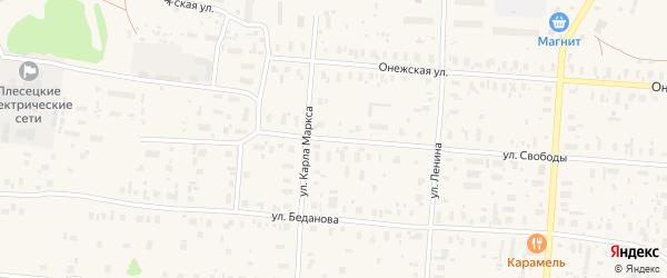 Улица Свободы на карте поселка Плесецка с номерами домов