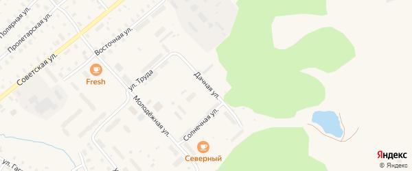 Солнечная улица на карте железнодорожной станции Заречного с номерами домов