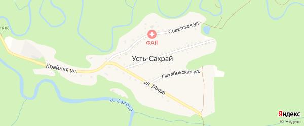 Дорога А/Д Подъезд к п. Усть-Сахрай на карте поселка Усти-Сахрая с номерами домов