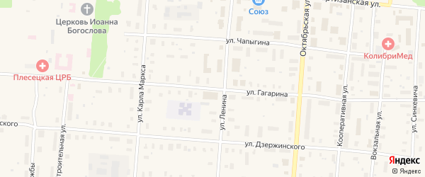 Улица Гагарина на карте поселка Плесецка с номерами домов