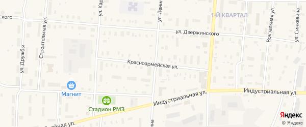 Красноармейская улица на карте поселка Плесецка с номерами домов