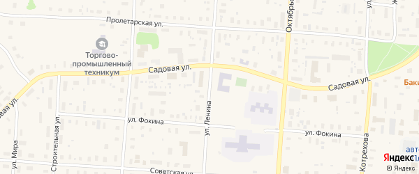Улица Ленина на карте поселка Плесецка с номерами домов