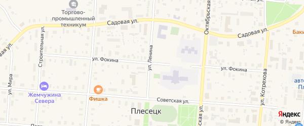 Улица Фокина на карте поселка Плесецка с номерами домов