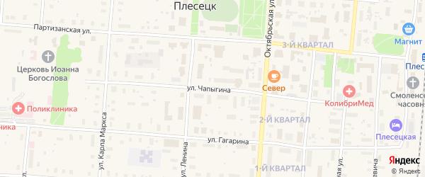 Улица Чапыгина на карте поселка Плесецка с номерами домов