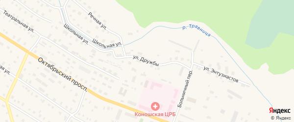 Улица Дружбы на карте поселка Коноши с номерами домов