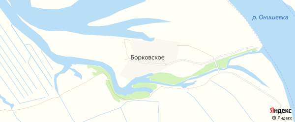 Карта деревни Борковского в Архангельской области с улицами и номерами домов