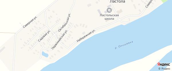 Набережная улица на карте деревни Ластола с номерами домов