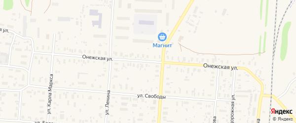 Онежская улица на карте поселка Плесецка с номерами домов