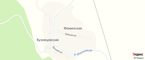 Южная улица на карте Фоминской деревни с номерами домов